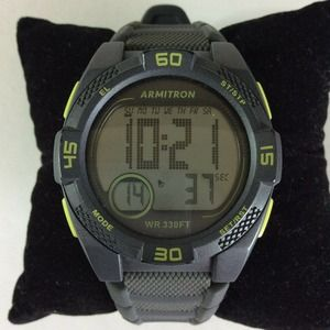 Armitron Pro Sports Digital Watch Gray Neon Green